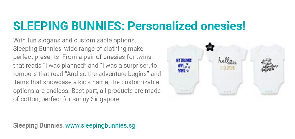 Sleeping Bunnies: Personalized onesies!