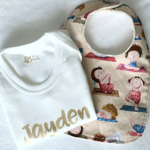 Personalised Baby Romper & Bib Set