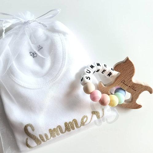 Personalised Animal Teether Gift Set