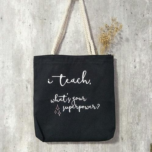 Teacher's Day Zipper Tote in Black