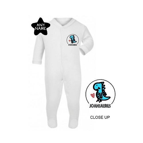 Personalised Name-saurus Footsie Sleepsuit
