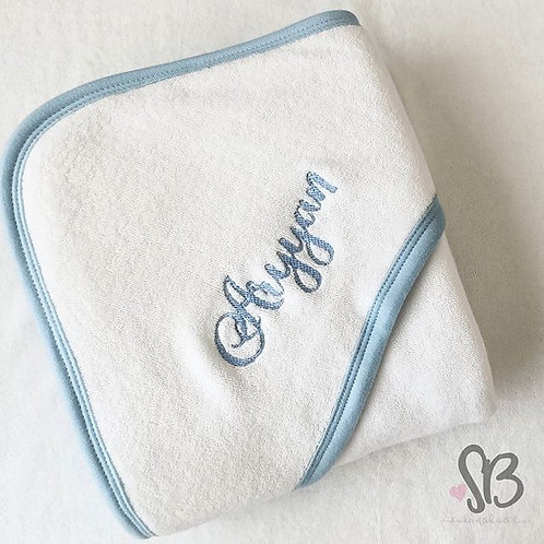 Personalised Embroidered Baby Hooded Towel (Blue Trims)