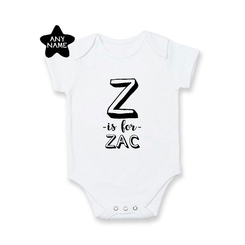Personalised A to Z name romper / tee