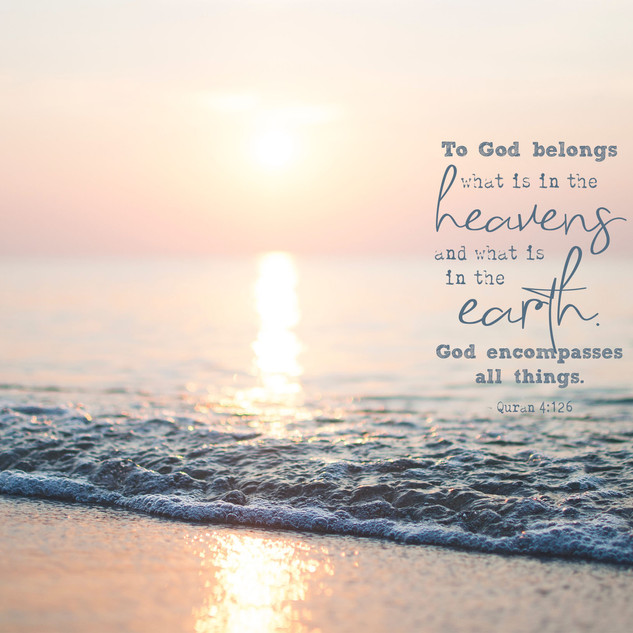 To God belongs what is in the heavens and what is in the earth. God encompasses all things. ~ Quran 4:126