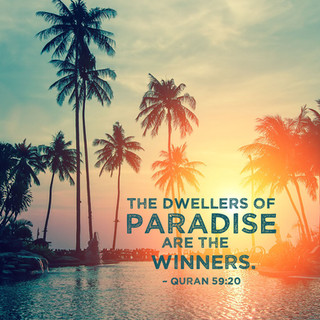 The dwellers of Paradise are the winners. ~ Quran 59:20
