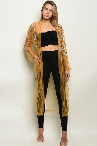 Womens Mustard W/Florwers Kimono