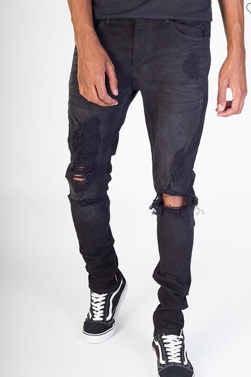 Black Custom Rip Jeans
