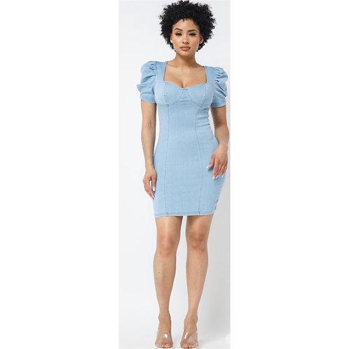 Ruffled Shoulder Denim Dress