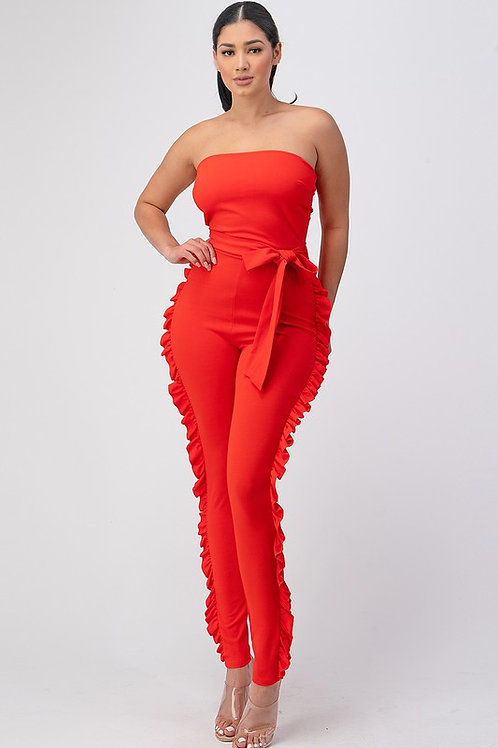SIDE RUFFLE JUMPSUIT