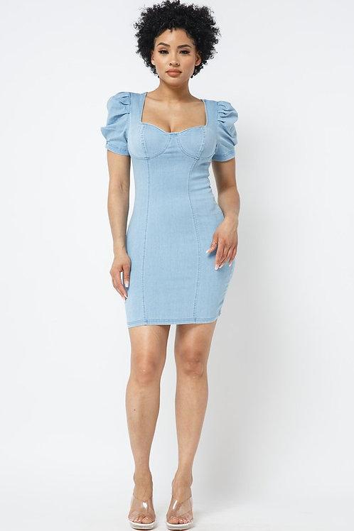 Ruffle Sleeve Denim Dress
