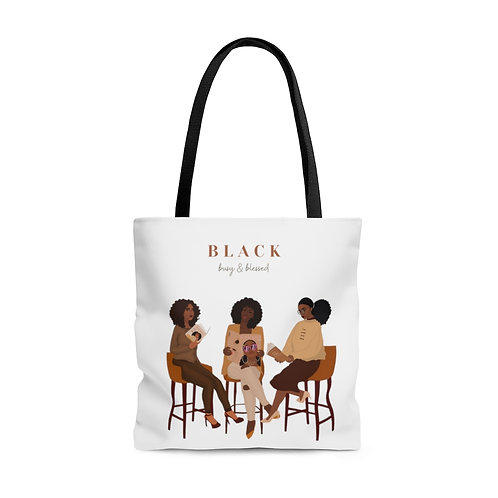 Black. Blessed & Busy Tote (White)