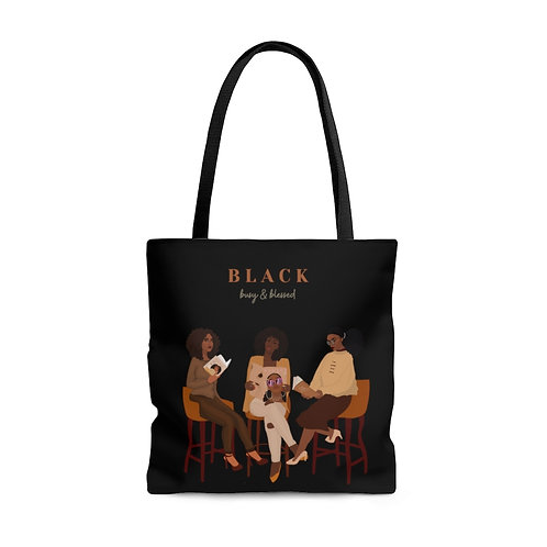 Black, Blessed & Busy Tote Bag (Black)