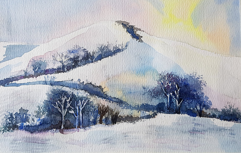 View of the snow covered hills from Wootton Fitzpaine by local artist Trudi Ochiltree