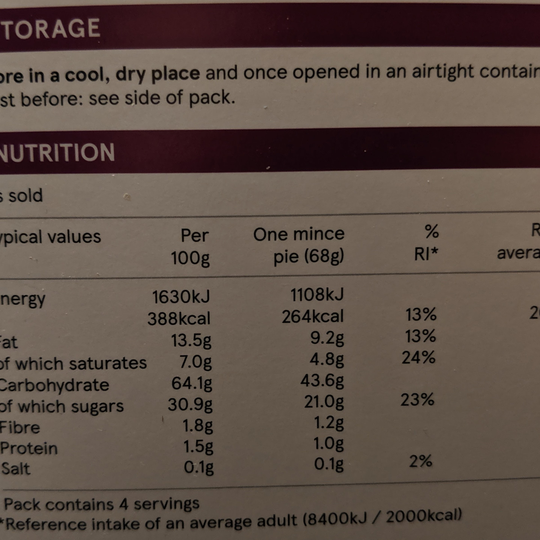 Mince pies nutrition label