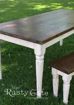 Cusatom farm table and bench by Susie My