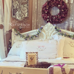 cottage style painted antique bed by Sus
