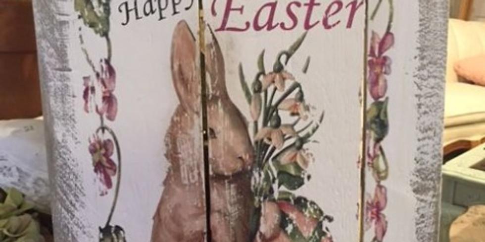 Vintage Look Image Transfer Easter Sign on Rustic Wood (1)