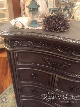 Chalk Painted Dresser with Silver wax by
