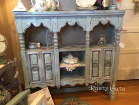 Chalk Painted Arabesque Hutch by Susie M