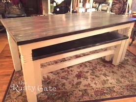 Custom Hand Crafted Farm Table Ebony Sta
