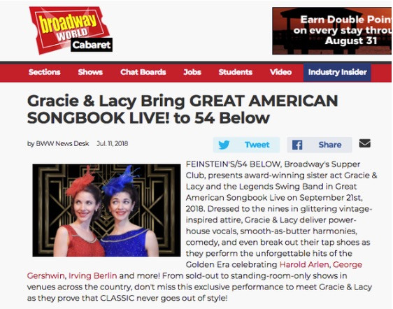 Gracie & Lacy Perform at Feinstein's 54/Below