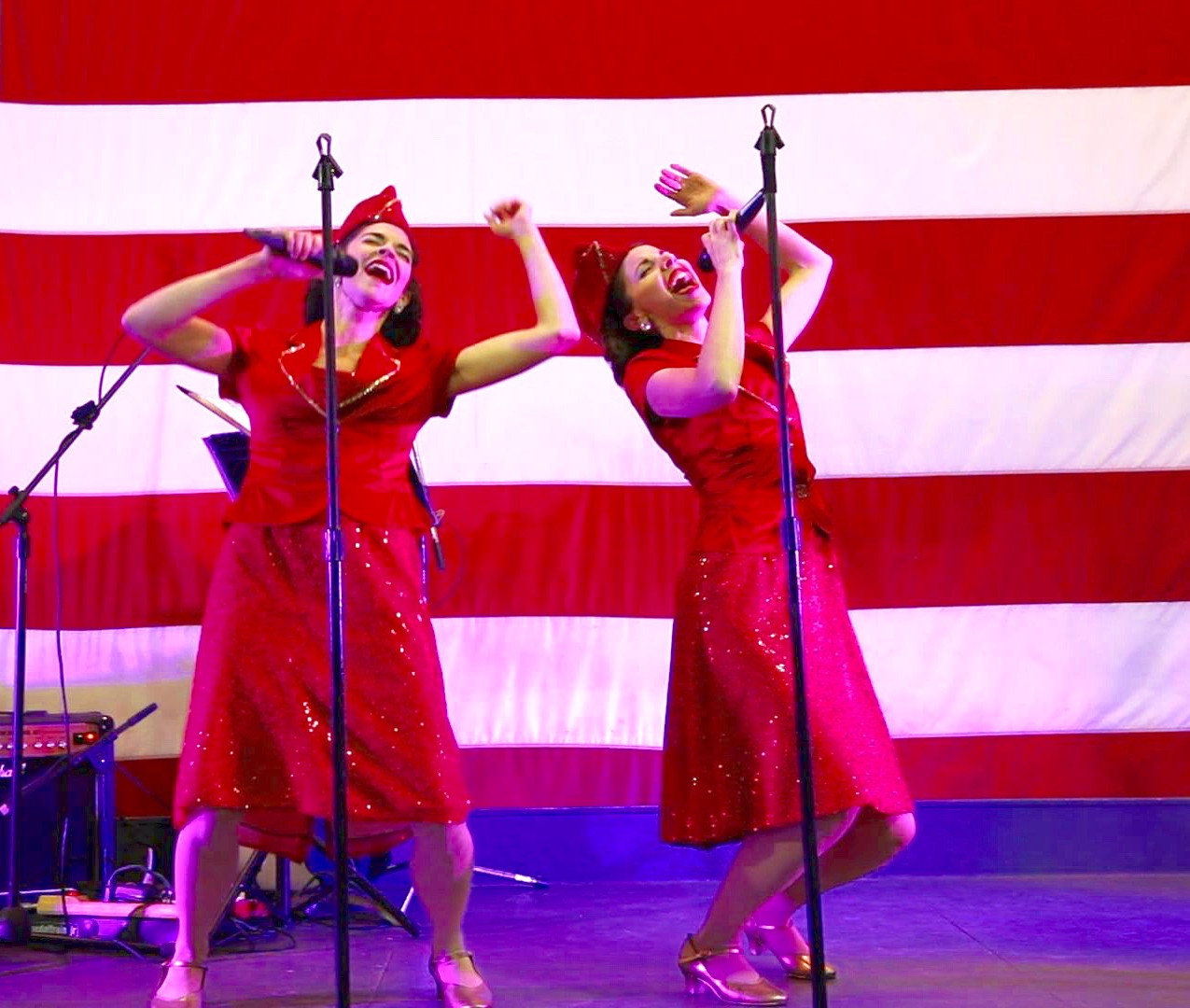 Gracie & Lacy perform live on the USS Yorktown.  Contact us to learn more about booking patriotic entertainment.