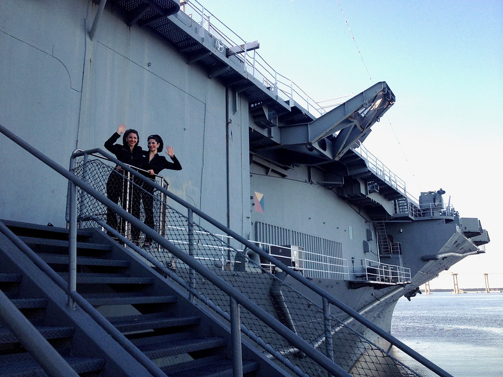 Gracie & Lacy on the USS Yorktown