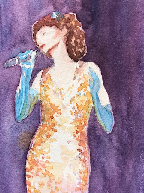 Singer with Microphone Watercolor
