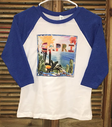 Capri CACTUS Youth Baseball Tee (Royal Blue)