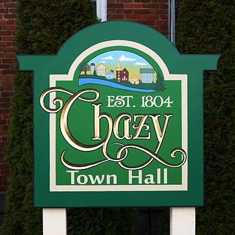 Dimensional sign for Chazy Town Hall in Chazy, New York