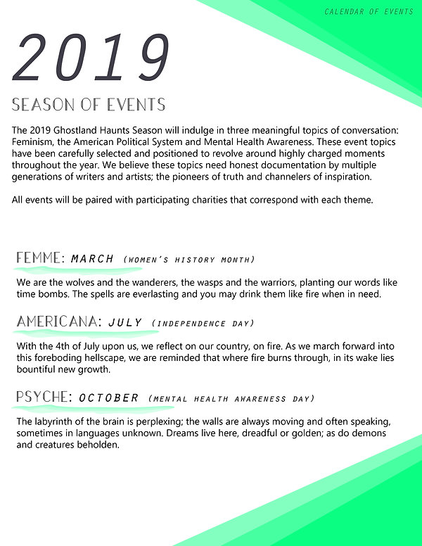 2 - Ghostland Haunts - Calendar of Event