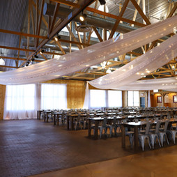 banquet hall beautifully drapped with linens