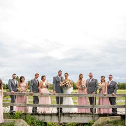 Wedding party posing on bridge