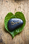 a healing stone with the word soul lying