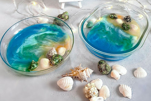 Ocean Inspired Resin Art Trinket Tray
