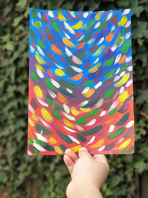 Acrylic paint abstract  Original Artwork Rainbow colors
