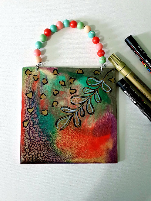 Fluid art mini wall hanging