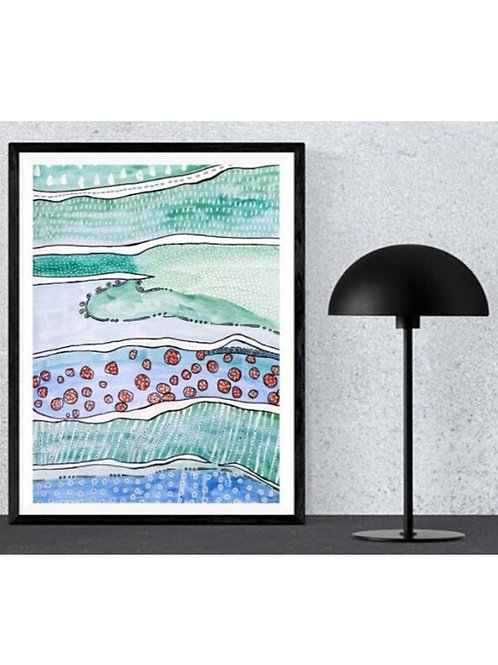 """Watercolor painting in aqua colors """"ocean view"""""""