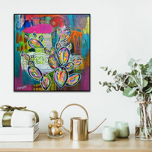 Cactus  Love 2, cacti Acrylic painting, original abstract , colourful home