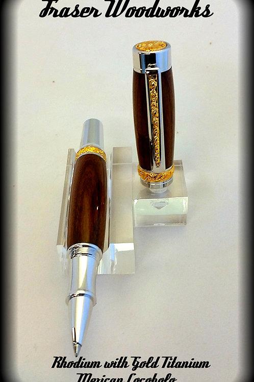 Rhodium with Gold Titanium Accents