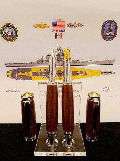 USS Iowa (BB-61) Teak Pen Set with Certificate of Authenticity