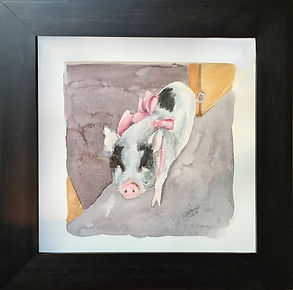 watercolor of pig