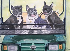 watercolor dogs on golf cart