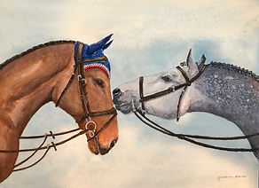 watercolor of 2 horses Yvonne Haus