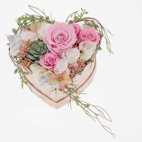 Flowerbox Herzform Rosa XLarge