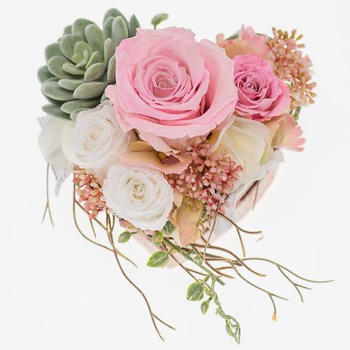 Flowerbox Herzform Rosa Medium