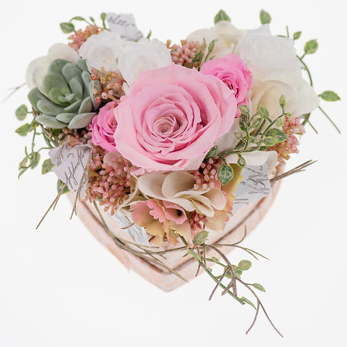 Flowerbox Herzform Rosa Large