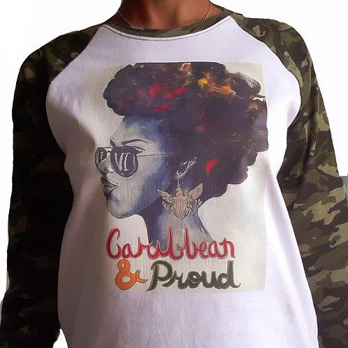 Two tone Camouflage  baseball shirt, Caribbean & Proud