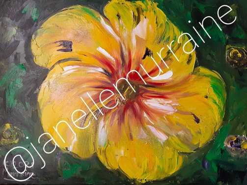Yellow Hibiscus, 18x24 oil on canvas