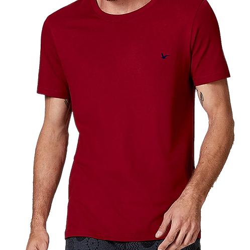 Camiseta Masculina Vermelha Lisa 100% Algodão